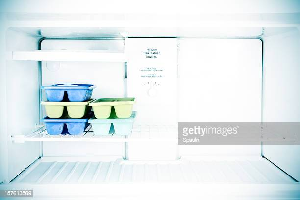 Five sets of ice cube trays in a freezer