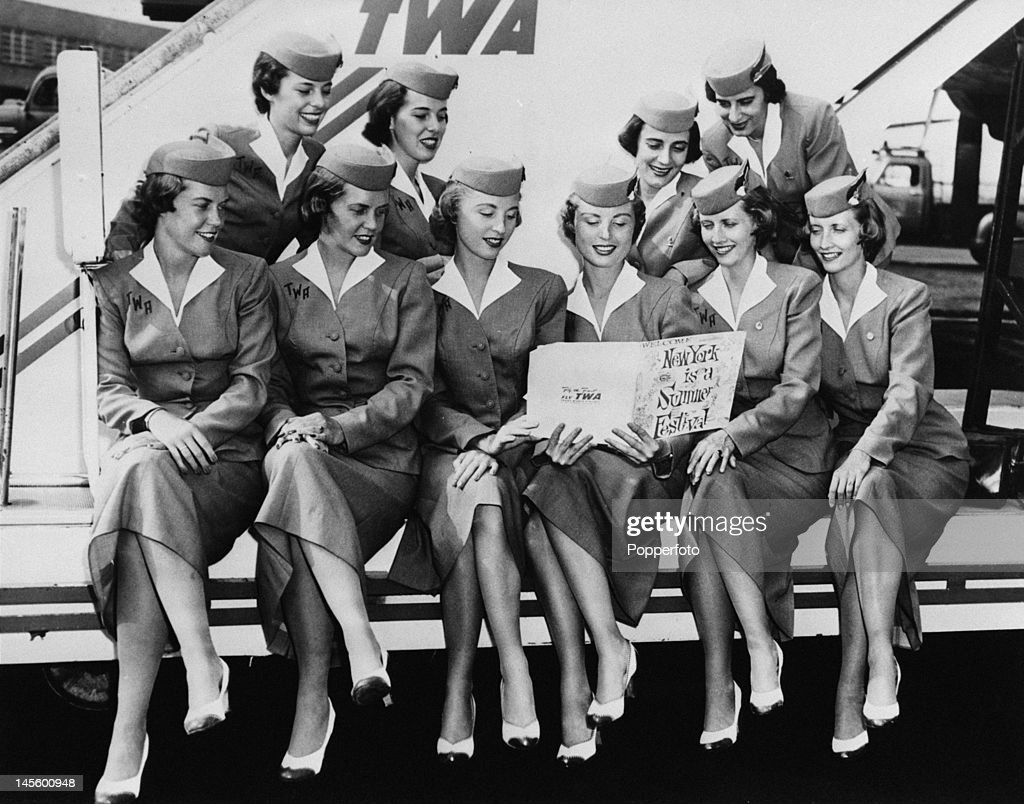 Five sets of identical twins who work as air hostesses for TWA 6th August 1956 They are to take part in a TWA summer festival event and attend a...
