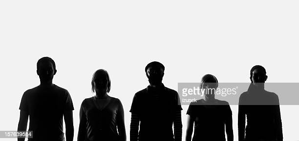 Five silhouettes of people