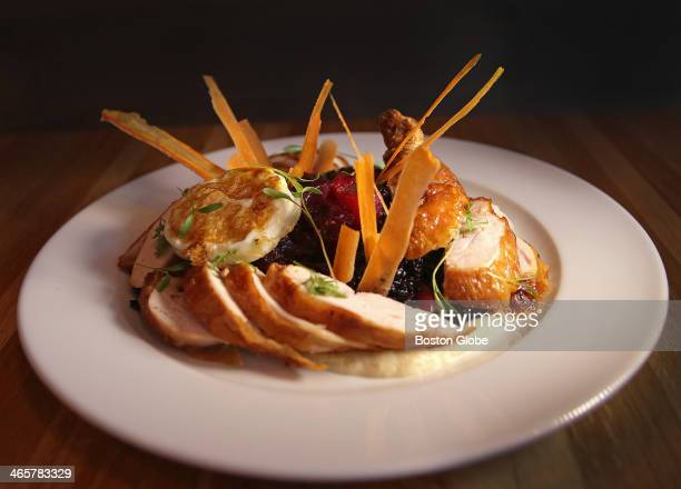 Five Spheres Chicken Copicut Farm pastureraised roast chicken tallow fried black rice slowpoachedthen fried egg carrot chips celery root puree from...