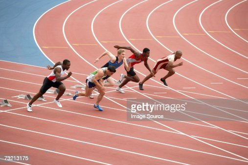 Five sprinters on a race track