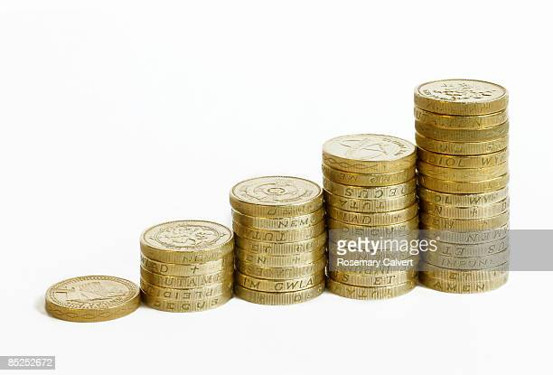 Five stacks of one pound coins