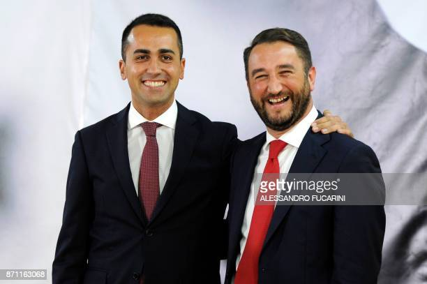 Five Star Movement Giancarlo Cancelleri poses with Luigi Di Maio leader of the M5S at the end of a press conference in Caltanissetta on November 6...