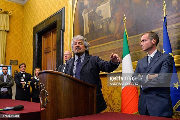 Five Star Movement leader Beppe Grillo gives a press conference after being consulted by Italian Prime Minister Matteo Renzi to form a new government...