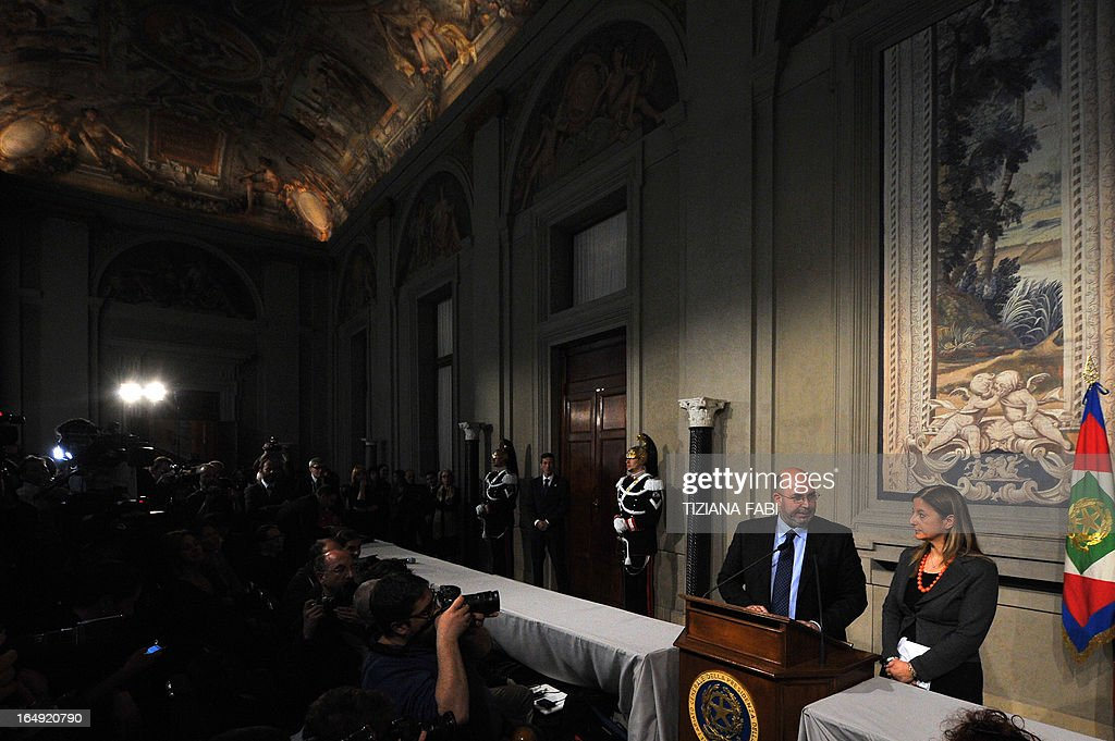 Five Star Movement leader in the Senate Vito Crimi (L) and Five-Star leader in the lower house of parliament Roberta Lombardi give a press conference after a meeting with Italy's President on March 29, 2013 at the Quirinale, the Italian presidential palace in Rome. Italian political leaders were poised for a new round of talks today after leftist Pier Luigi Bersani failed to form a government following inconclusive elections in eurozone's third-largest economy. President Giorgio Napolitano was scheduled to host the talks, as European capitals and financial markets watched warily amid renewed turbulence in the eurozone.