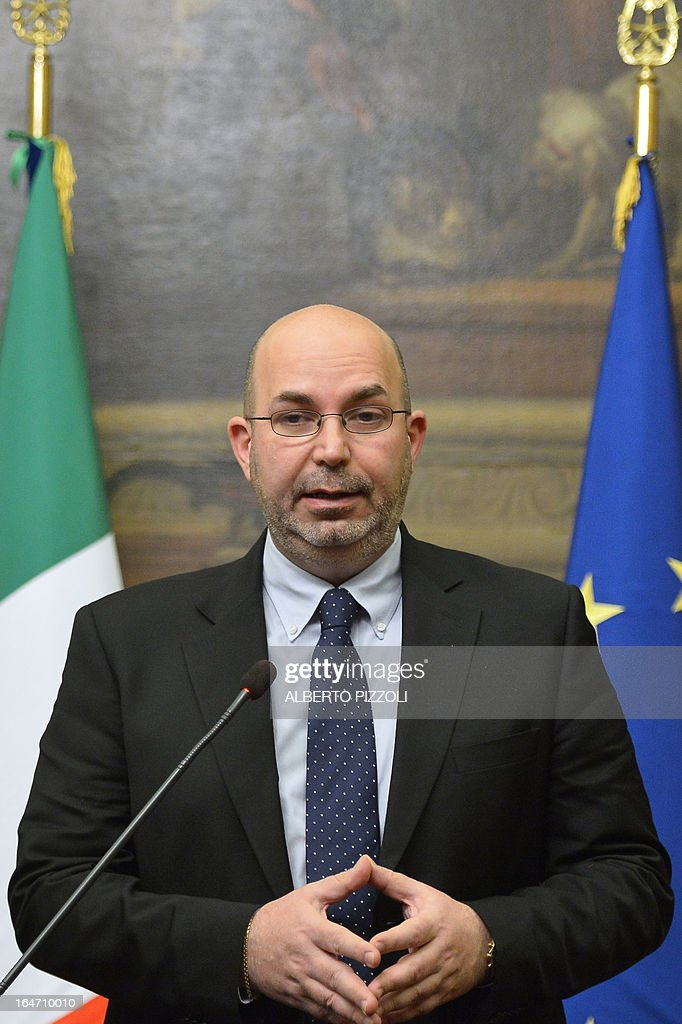 Five Star Movement leader in the Senate Vito Crimi speaks during a press conference after a meeting with leftist leader Pier Luigi Bersani on March 27, 2013 in Rome. Bersani was given the official go-ahead on March 23, 2013 to try and form a government after February elections that left the country in political gridlock.