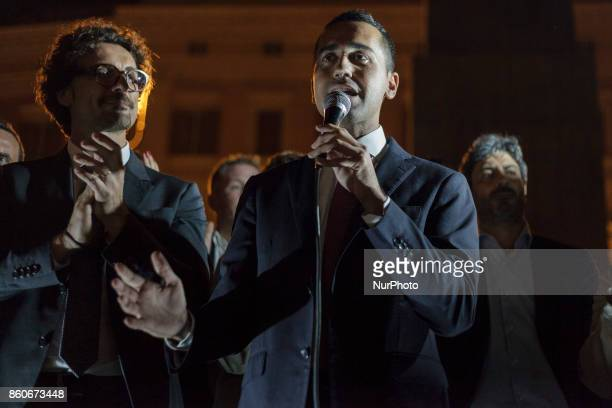 Five Star Movement leader Luigi Di Maio attends a demonstration in front of the Chamber of Deputies in Montecitorio Square to protest against the...