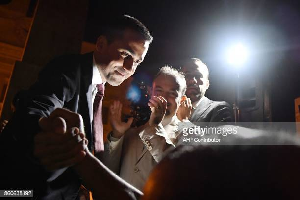 Five star Movement leader Luigi Di Maio attends a protest outside the lower house of Parliament against the government's decision to put a bill for a...