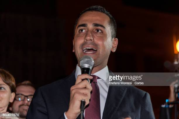 Five star Movement leader Luigi Di Maio during the demonstration by the 5 Star Movement in front of the the lower house of parliament against the...