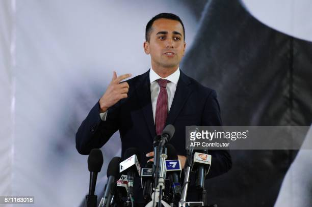 Five Star Movement leader Luigi Di Maio gestures during a press conference in Caltanissetta on November 6 2017 after the result of the regional...