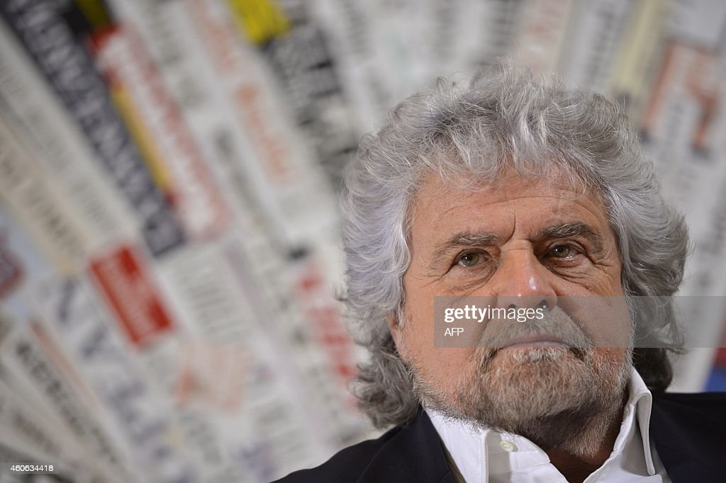Five Stars movement's leader <a gi-track='captionPersonalityLinkClicked' href=/galleries/search?phrase=Beppe+Grillo&family=editorial&specificpeople=4246058 ng-click='$event.stopPropagation()'>Beppe Grillo</a> attends a press conference on December 18, 2014 in Rome.