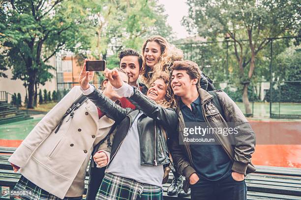 Five Students Taking Selfie with Smartphone, Istanbul, Turkey