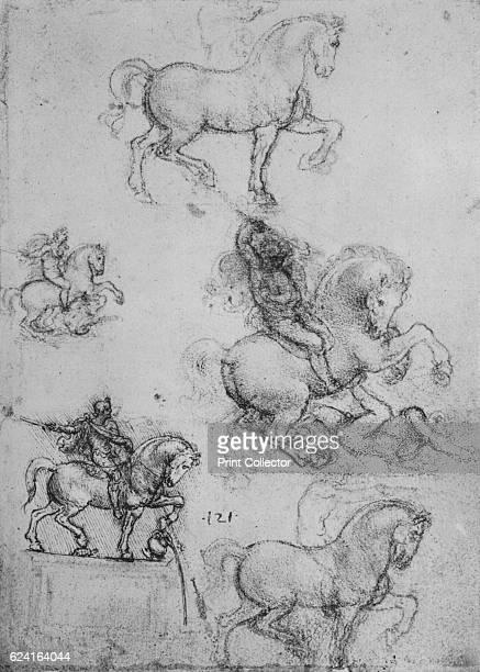 Five Studies of Horses and Riders' c1480 From The Drawings of Leonardo da Vinci [Reynal Hitchcock New York 1945] Artist Leonardo da Vinci