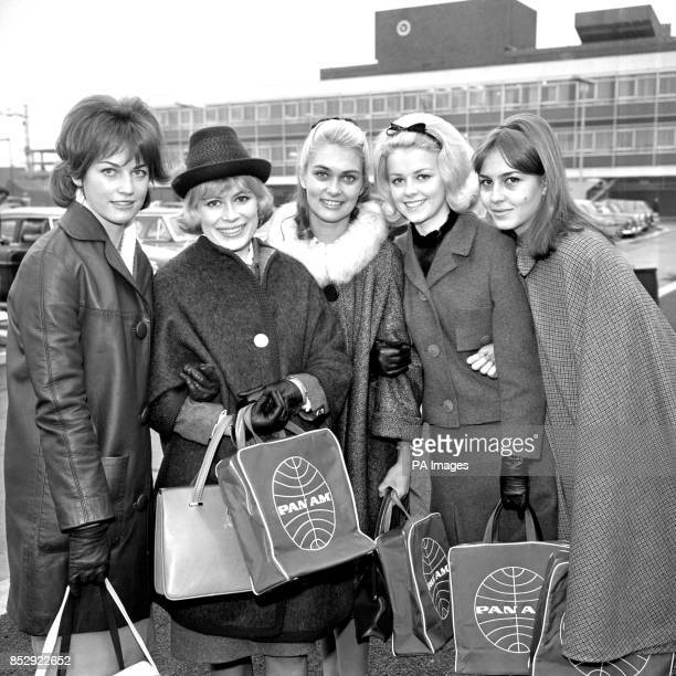 Five teenagers all of whom have won 'Ideal Girl' competitions in their respective countries pose before leaving London Airport by Pan American jet...