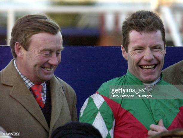 Five time winners trainer Nicky Henderson and jockey Mick FitzGerald after their fifth winner Royal Rosa at Newbury