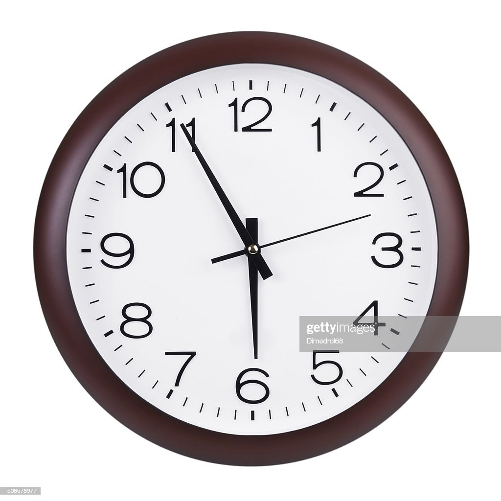 Five to six hours on the clocks : Stock Photo