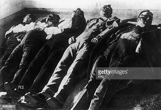 Five victims of the Saint Valentine's Day Massacre in Chicago 14th February 1929 Five members of gangster Bugs Moran's gang were shot dead at the...