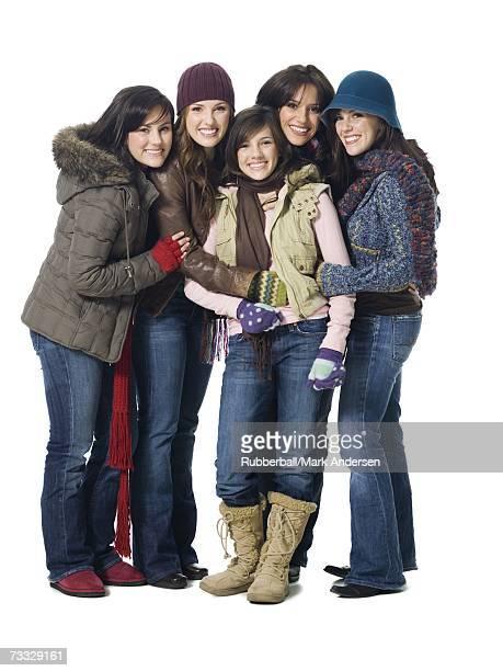 Five women in winter coats
