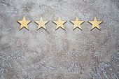 five wooden stars arranged in row on a neutral beige textured cement background, top view with copy space. Best rating customer feedback concept.
