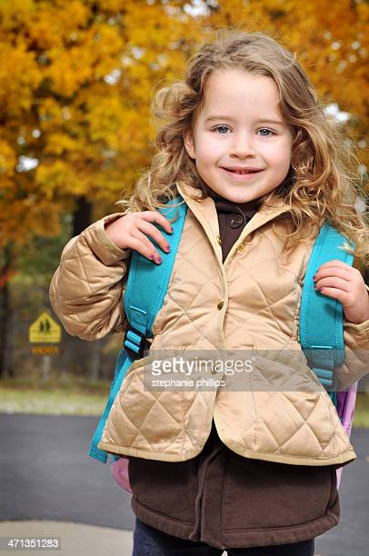 Five Year Old Girl Ready for First Day of School