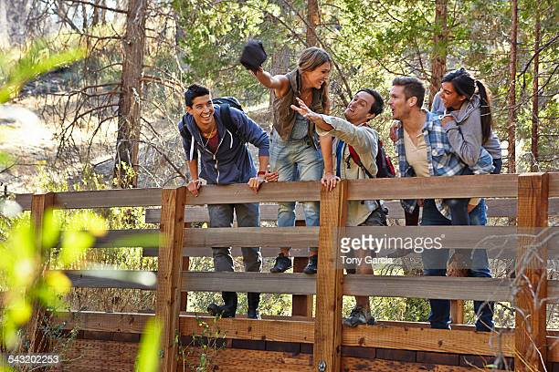 Five young adult friends fooling around on wooden bridge in forest, Los Angeles, California, USA