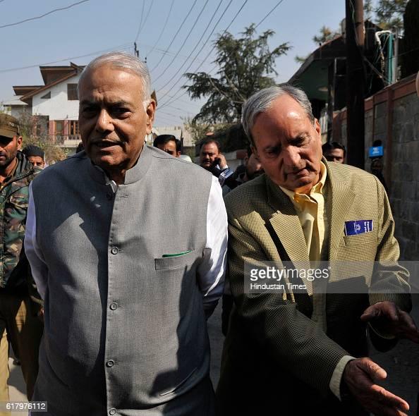 A fivemember delegation led by former External Affairs Minister and senior BJP leader Yashwant Sinha arrives to meet top Kashmiri hardliner Syed Ali...