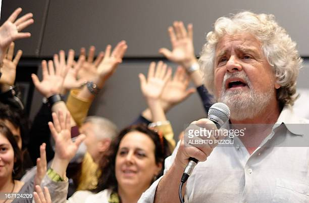 FiveStar Movement's leader Beppe Grillo addresses journalists during a news conference held in Rome on April 21 2013 Italy's lawmakers reelected...