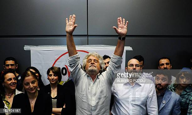 FiveStar Movement's leader Beppe Grillo gestures during a news conference held in Rome on April 21 2013 Italy's lawmakers reelected 87yearold...