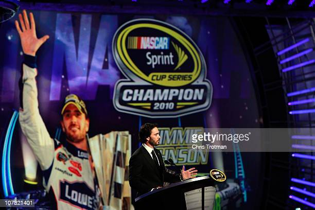 Fivetime champion Jimmie Johnson speaks during the NASCAR Sprint Cup Series awards banquet at the Wynn Las Vegas Hotel on December 3 2010 in Las...