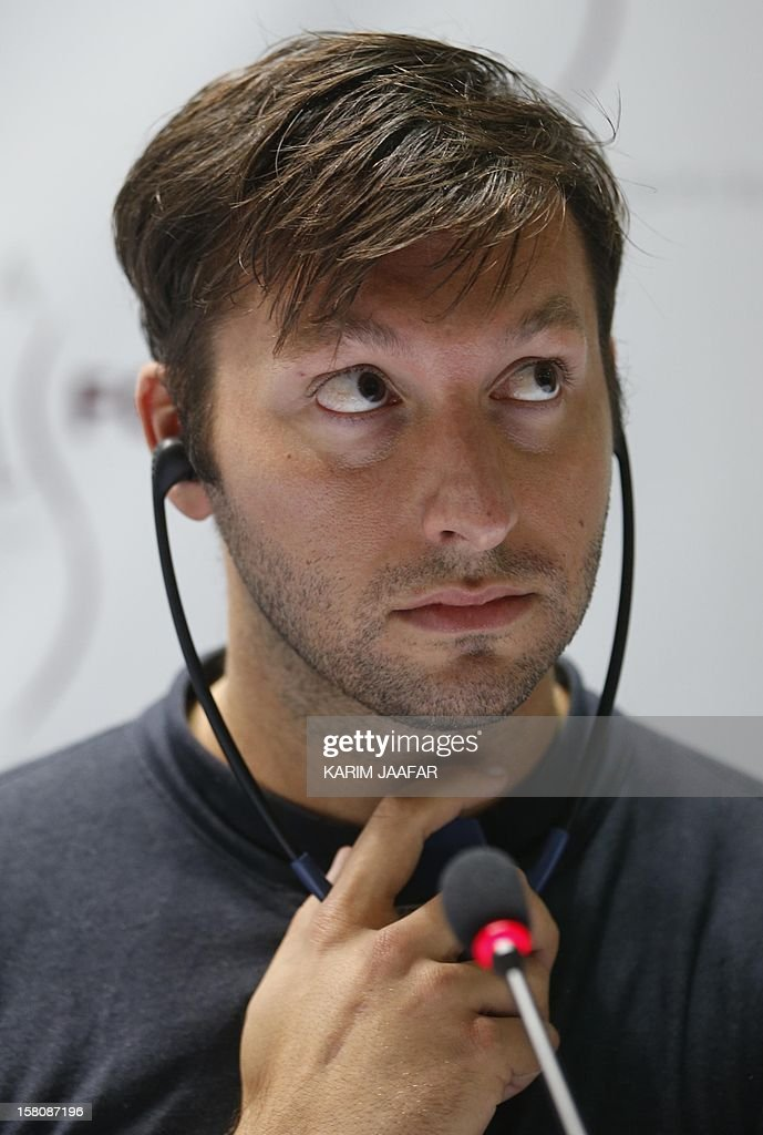 Five-time Olympic gold medallist Australia's Ian Thorpe attends a the news conference for the Doha Gathering of All Leaders In Sport (GOALS) forum in Doha on December 10, 2012.