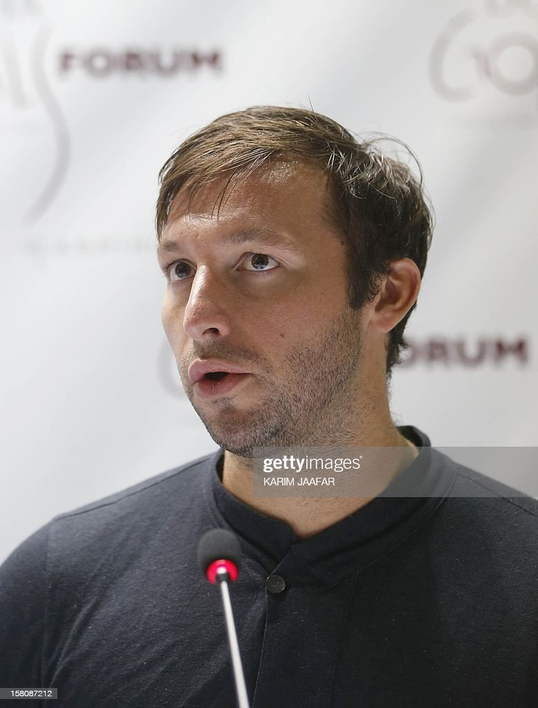 Five-time Olympic gold medallist Australia's Ian Thorpe attends a the news conference for the Doha Gathering of All Leaders In Sport (GOALS) forum in Doha on December 10, 2012. AFP PHOTO /KARIM JAAFAR / AL-WATAN DOHA == QATAR OUT