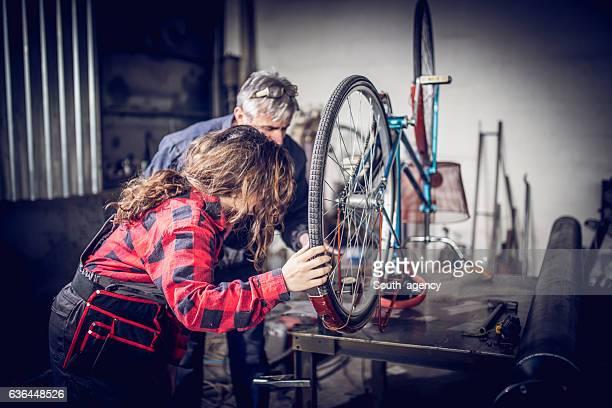 Fixing a bike together