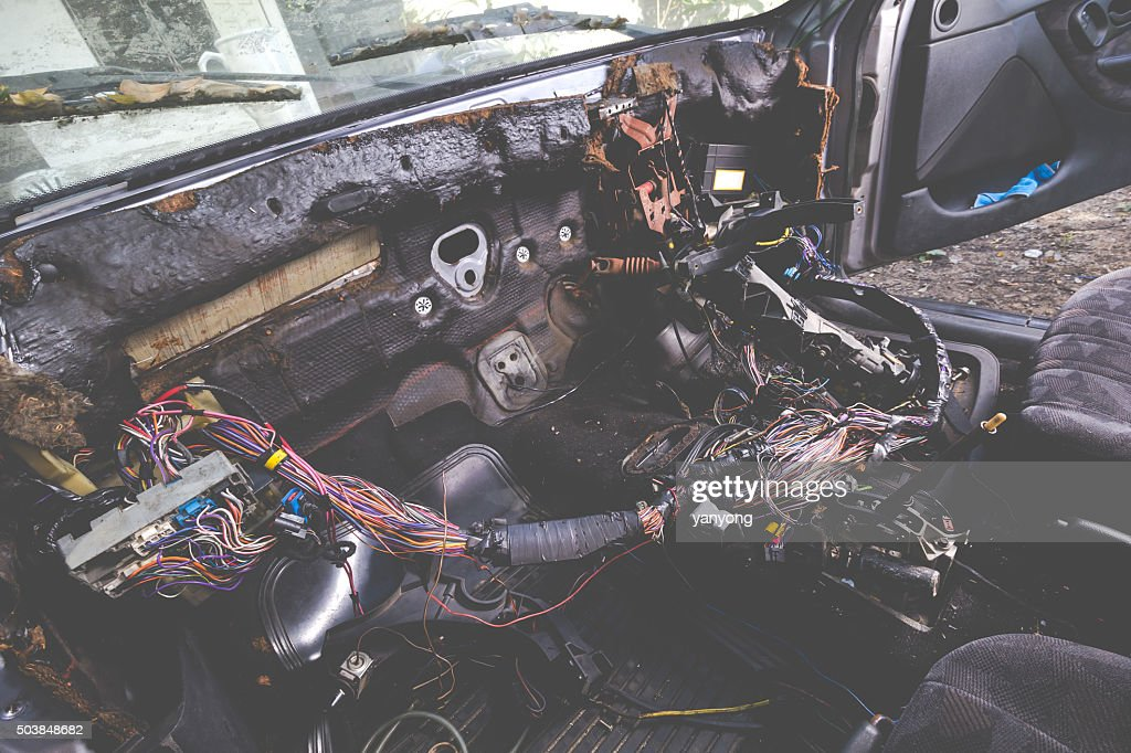 fixing electric wiring system in grunge and old car interior stock rh thinkstockphotos com vintage car wiring products vintage car wiring products