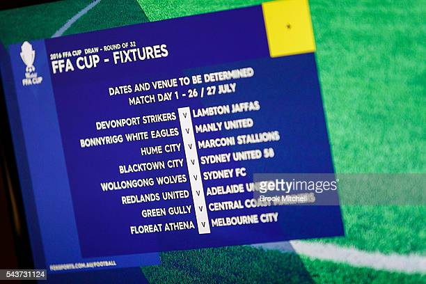 Fixtures are announced during the FFA Cup round of 32 draw at the FFA Offices on June 30 2016 in Sydney Australia