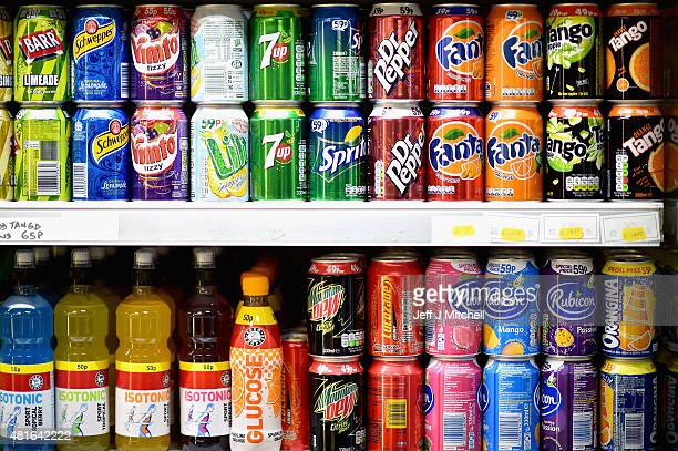Fizzy drinks are stocked on a shelf in a shop in Glasgows West End on July 23 2015 in Glasgow Scotland Health campaigners have stepped up calls for...