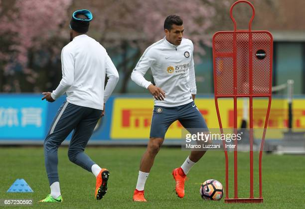 FJeison Murillo of FC Internazionale Milano in action during the FC Internazionale training session at the club's training ground Suning Training...
