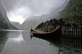 Fjord and a viking ship