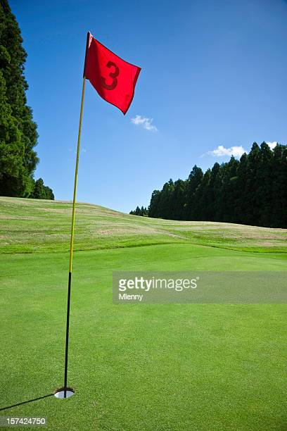 Flag and Hole No. 3 on Golf Course