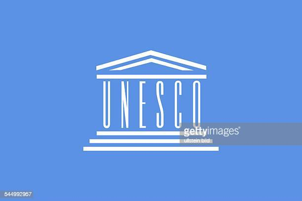 Flag and logo of the United Nations Educational Scientific and Cultural Organization UNESCO