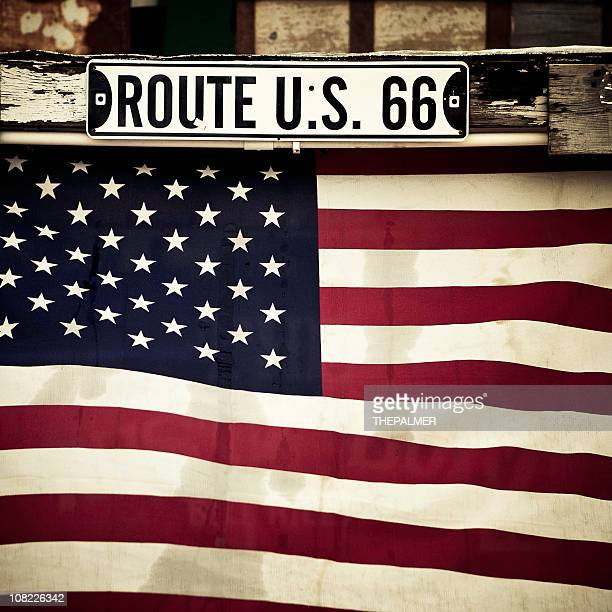 flag and route 66 sign