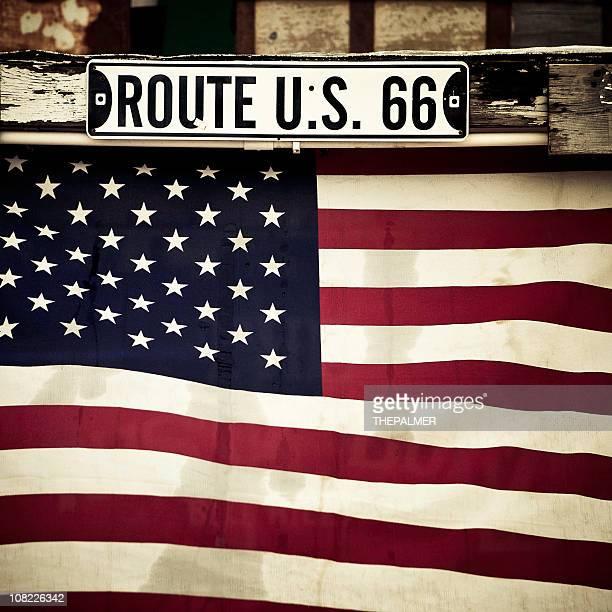 フラッグ、route 66 の標識