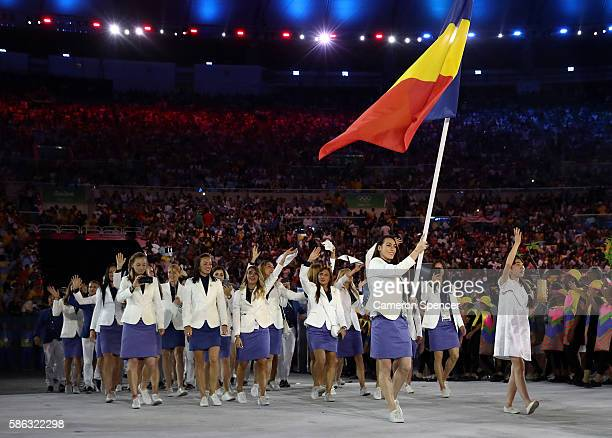 Flag bearer Catalina Ponor of Romania leads the team entering the stadium during the Opening Ceremony of the Rio 2016 Olympic Games at Maracana...