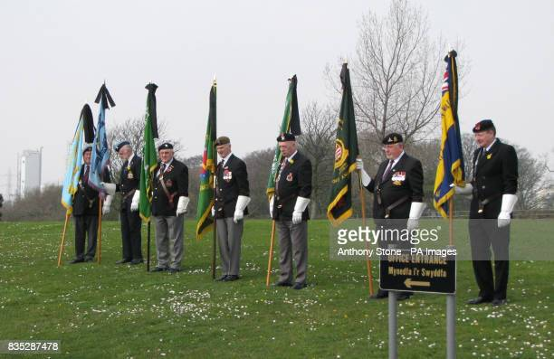 Flag bearers at the funeral service of Corporal Dean John of Port Talbot South Wales