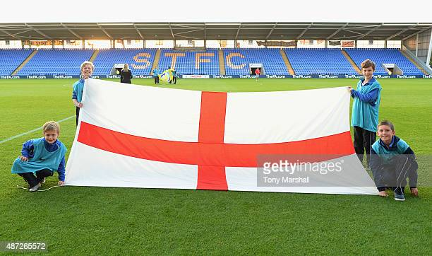 Flag bearers with the flags during the International Match between England U20 and Czech Republic U20 at Greenhous Meadow on September 7 2015 in...
