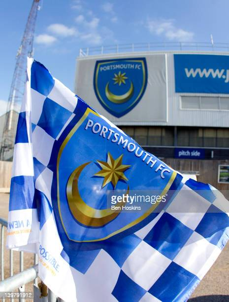 A flag blows in the wind outside Fratton Park prior to the npower Championship match between Portsmouth and Leeds United at Fratton Park on February...