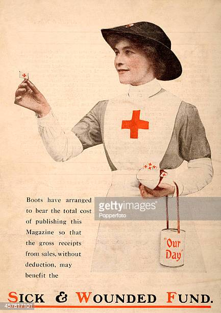 A Flag Day appeal with the proceeds going to the Sick Wounded Fund featuring a Red Cross nurse sponsored by Boots the Chemist during World War One...