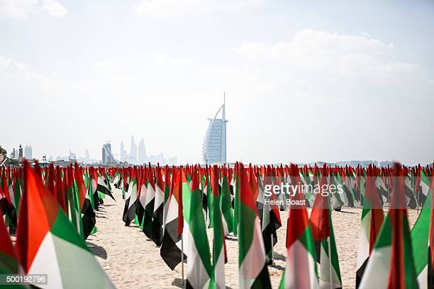 Flag display at Kite Beach during the annual UAE National Day Celebrations on December 02 2015 in Dubai United Arab Emirates