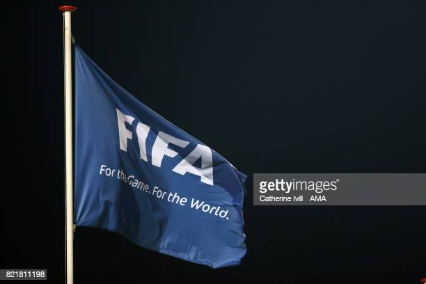 FIFA flag during the UEFA Women's Euro 2017 match between Norway and Denmark at Stadion De Adelaarshorst on July 24 2017 in Deventer Netherlands