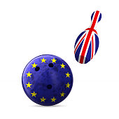 flag EU and  Great Britain and bowling on white background. Isolated 3D illustration.