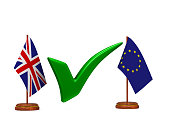 flag EU and  Great Britain and green checkmark on white background. Isolated 3D illustration.